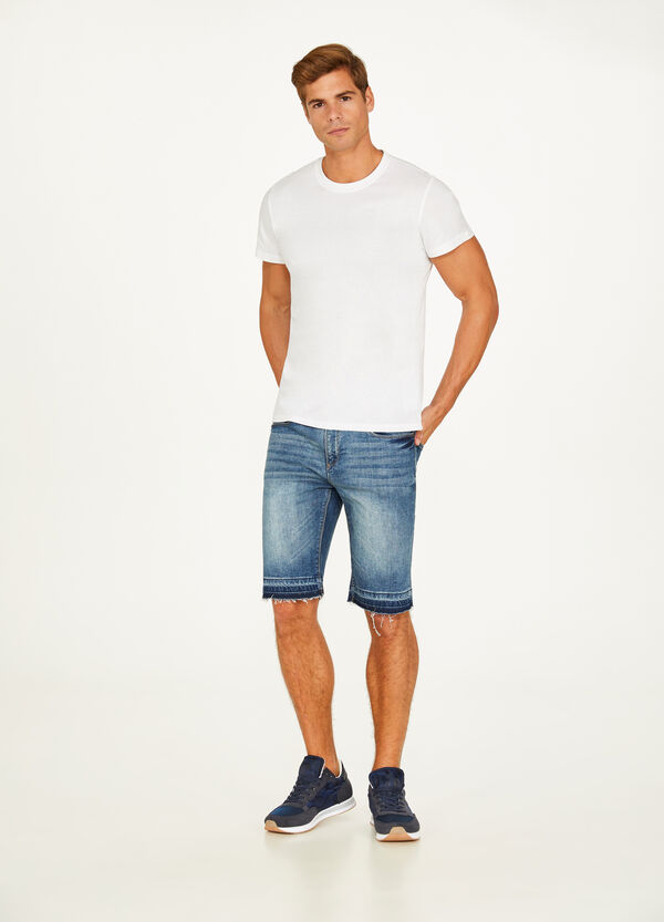 Slim-fit worn stretch denim Bermuda shorts