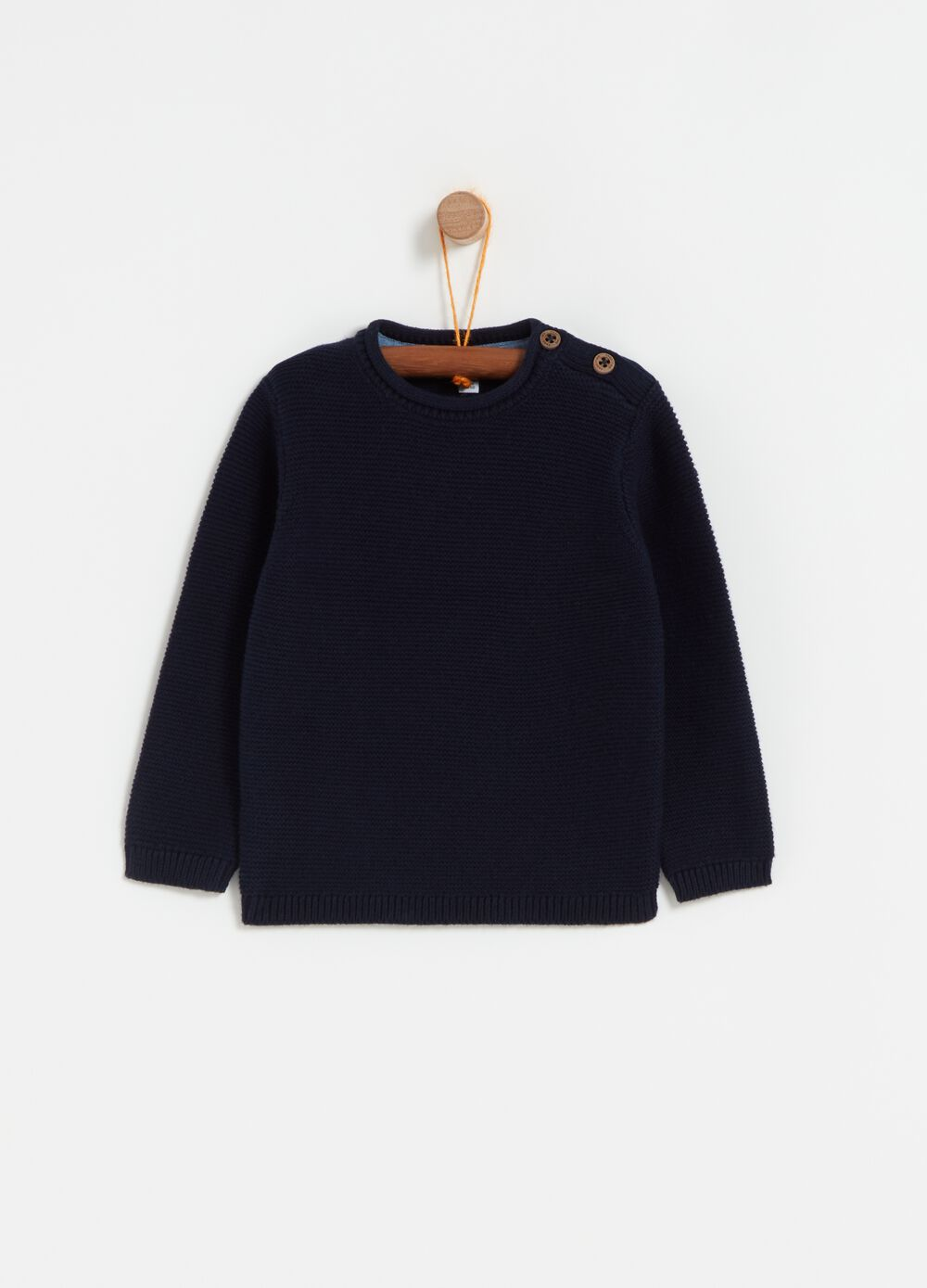 Knitted pullover in 100% cotton with buttons