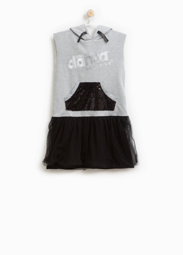 Sleeveless dress with hood and tulle   OVS