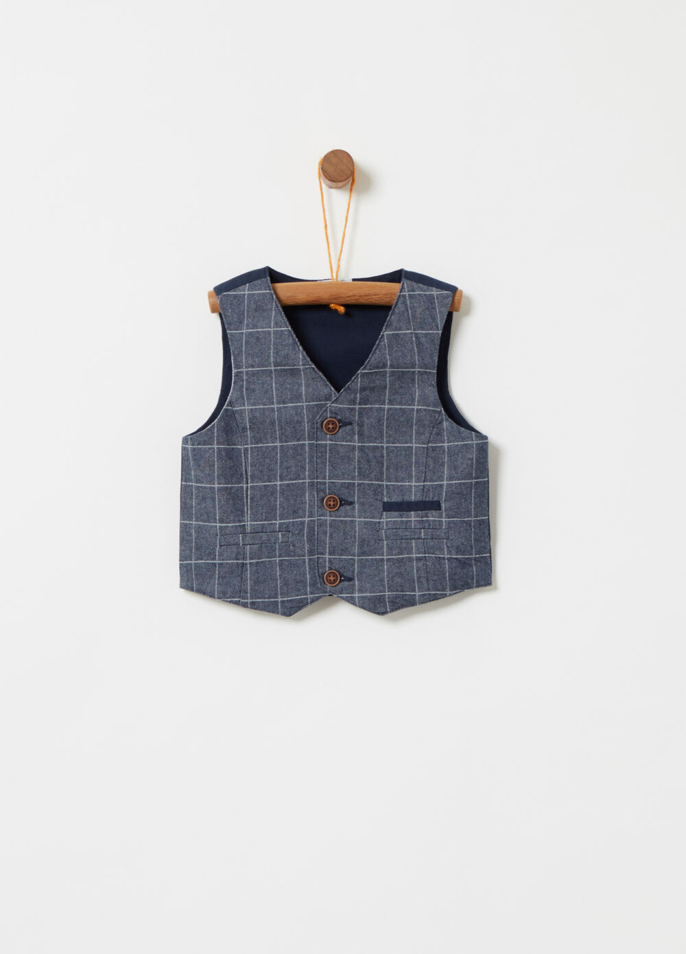 100% cotton gilet with check pattern on the front