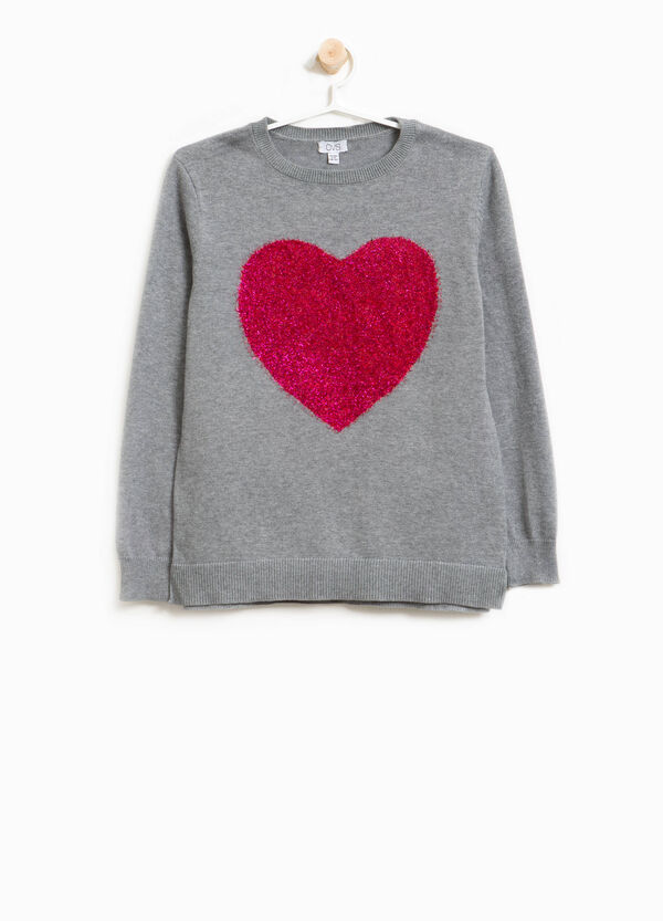 Heart print cotton pullover | OVS