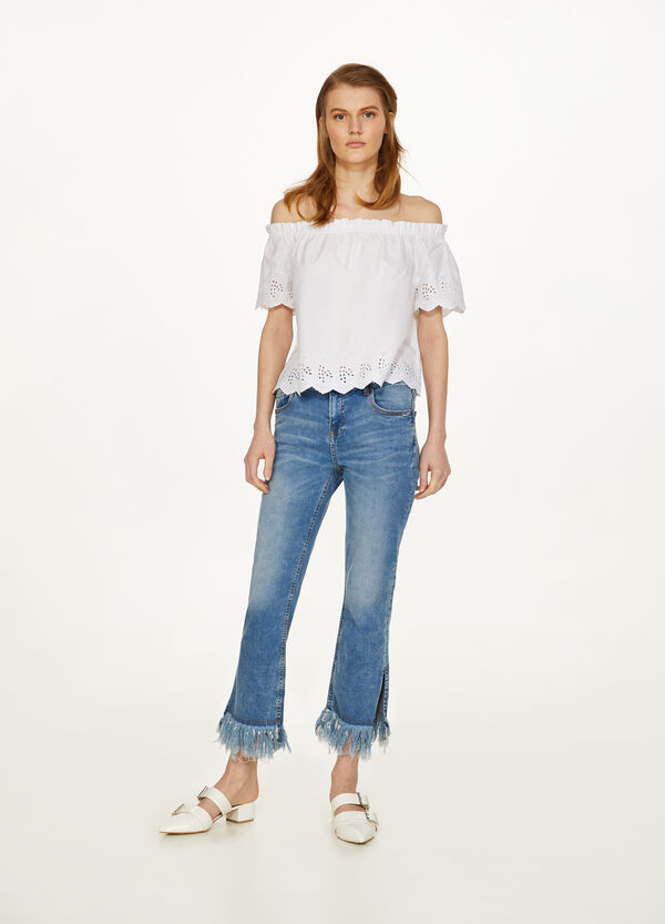 Skinny-fit stretch jeans with fringing