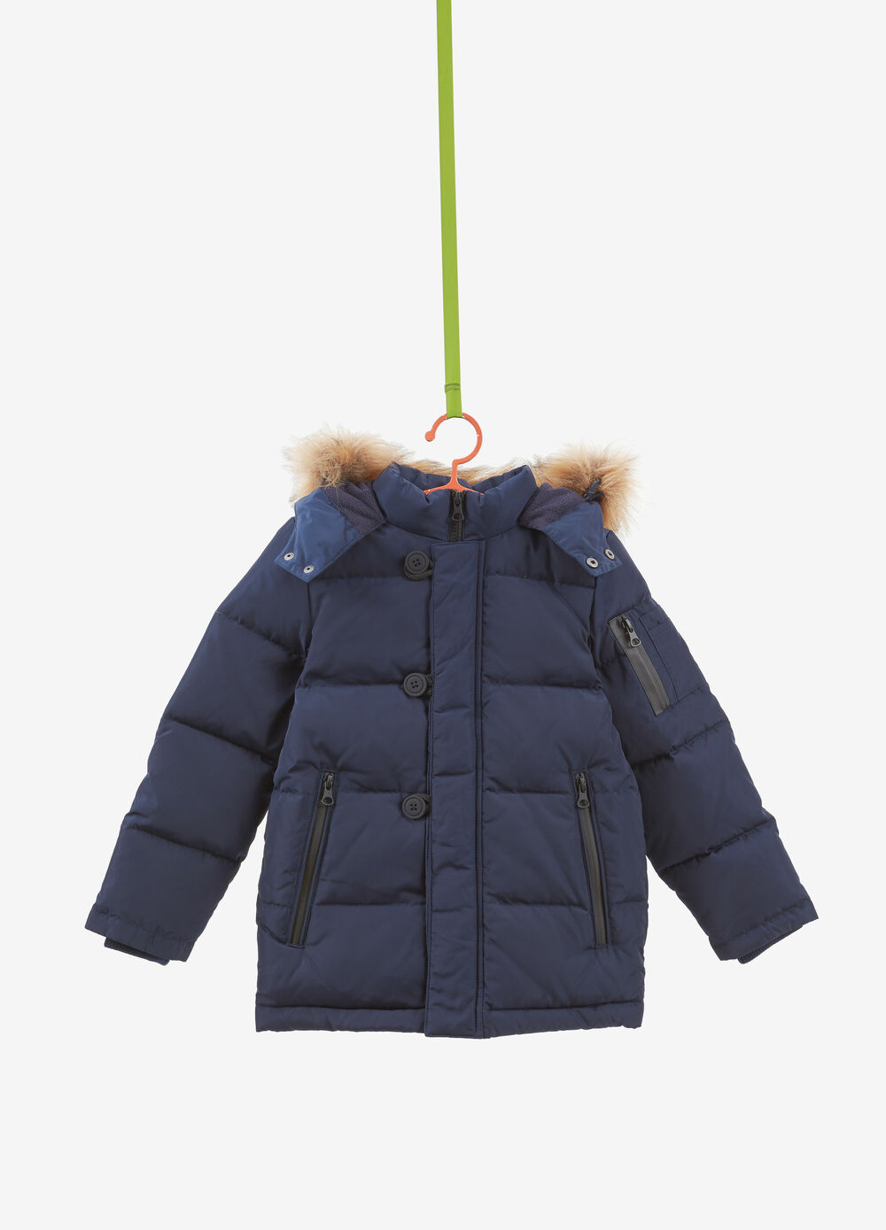 Very heavy down jacket with faux fur