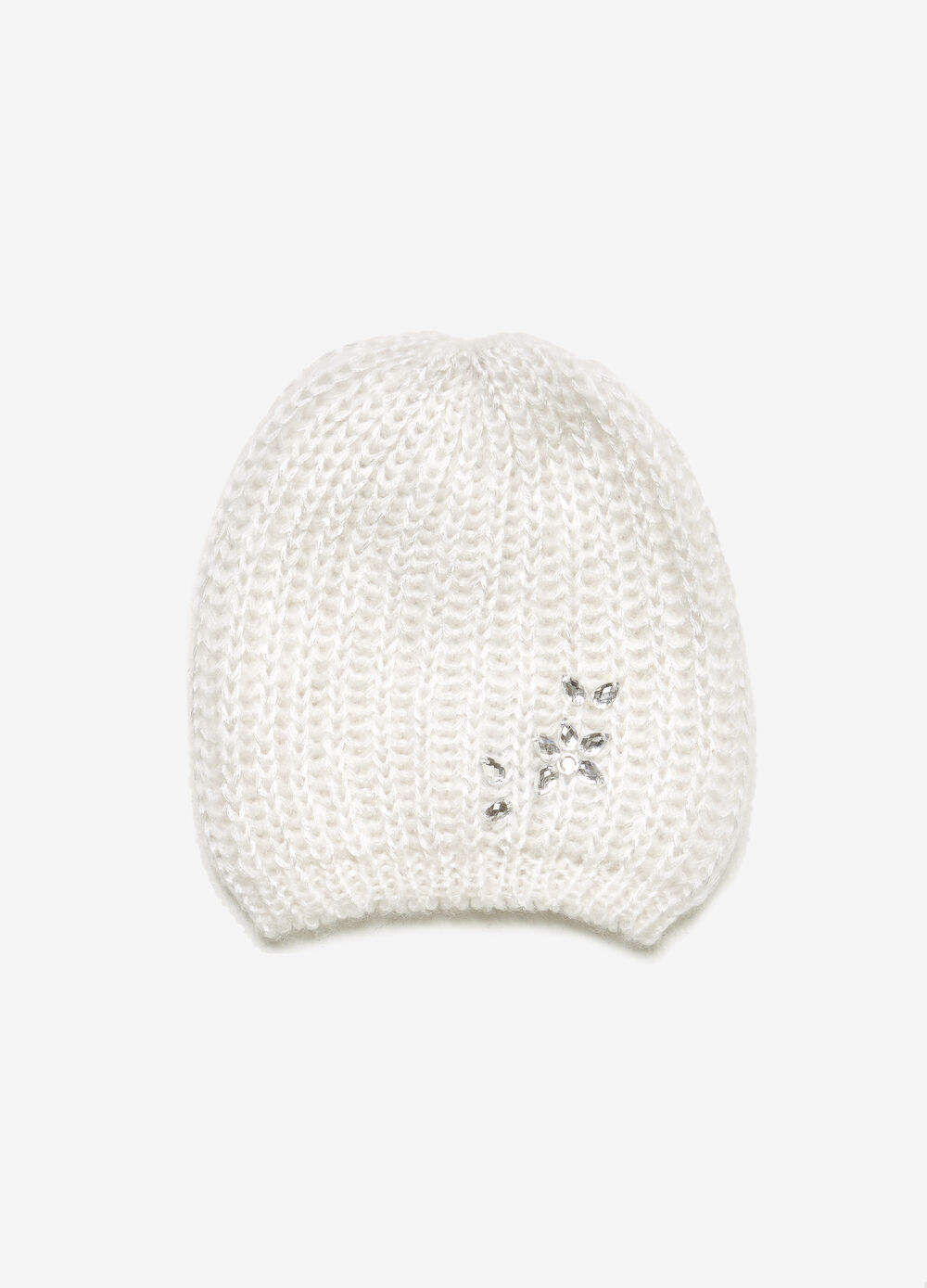 Solid colour beanie cap with diamantés