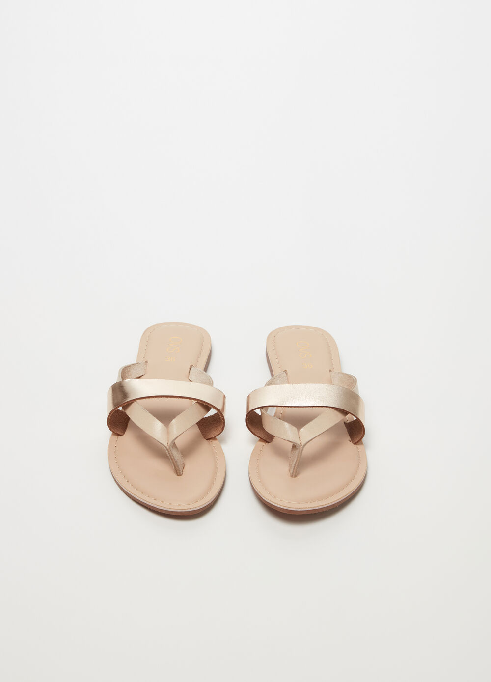 Leather thong sandal with metallic band
