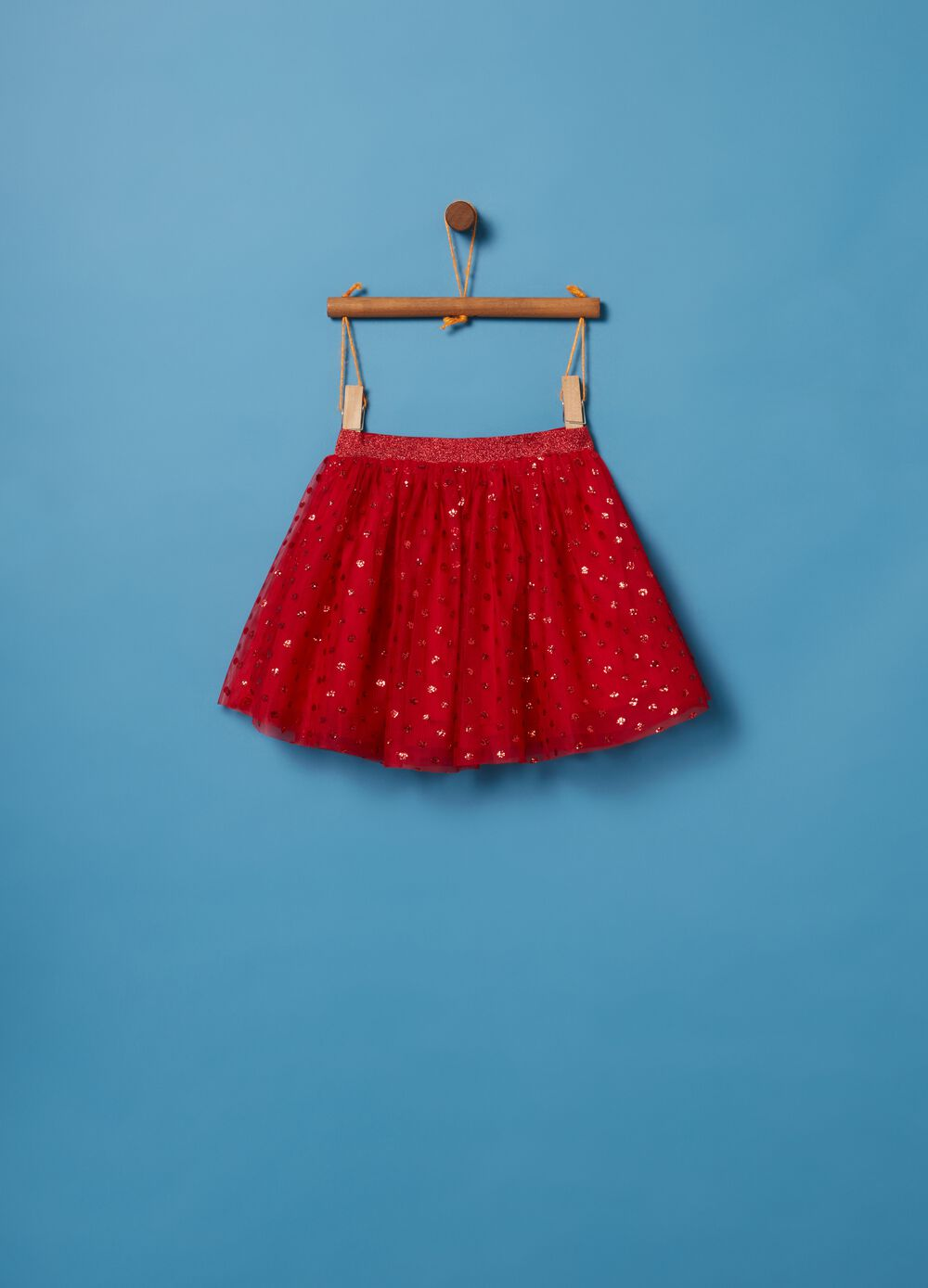 Tulle skirt with glitter and polka dots