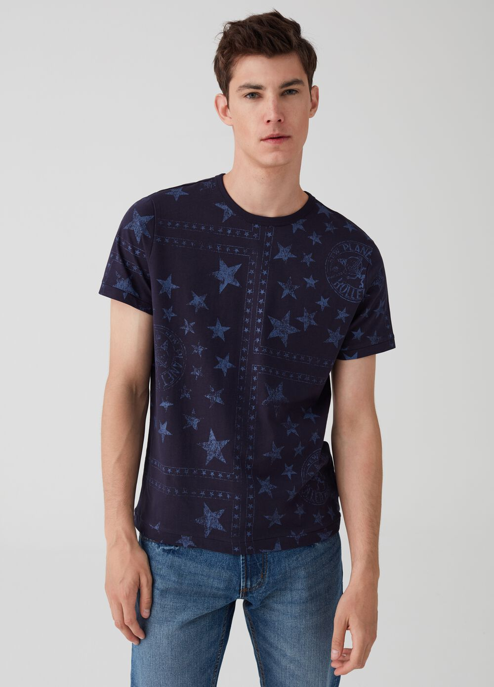 100% cotton T-shirt with stars and lettering pattern