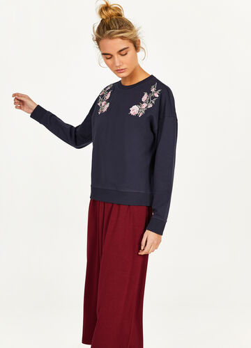 Sweat-shirt 100 % coton broderies fleurs
