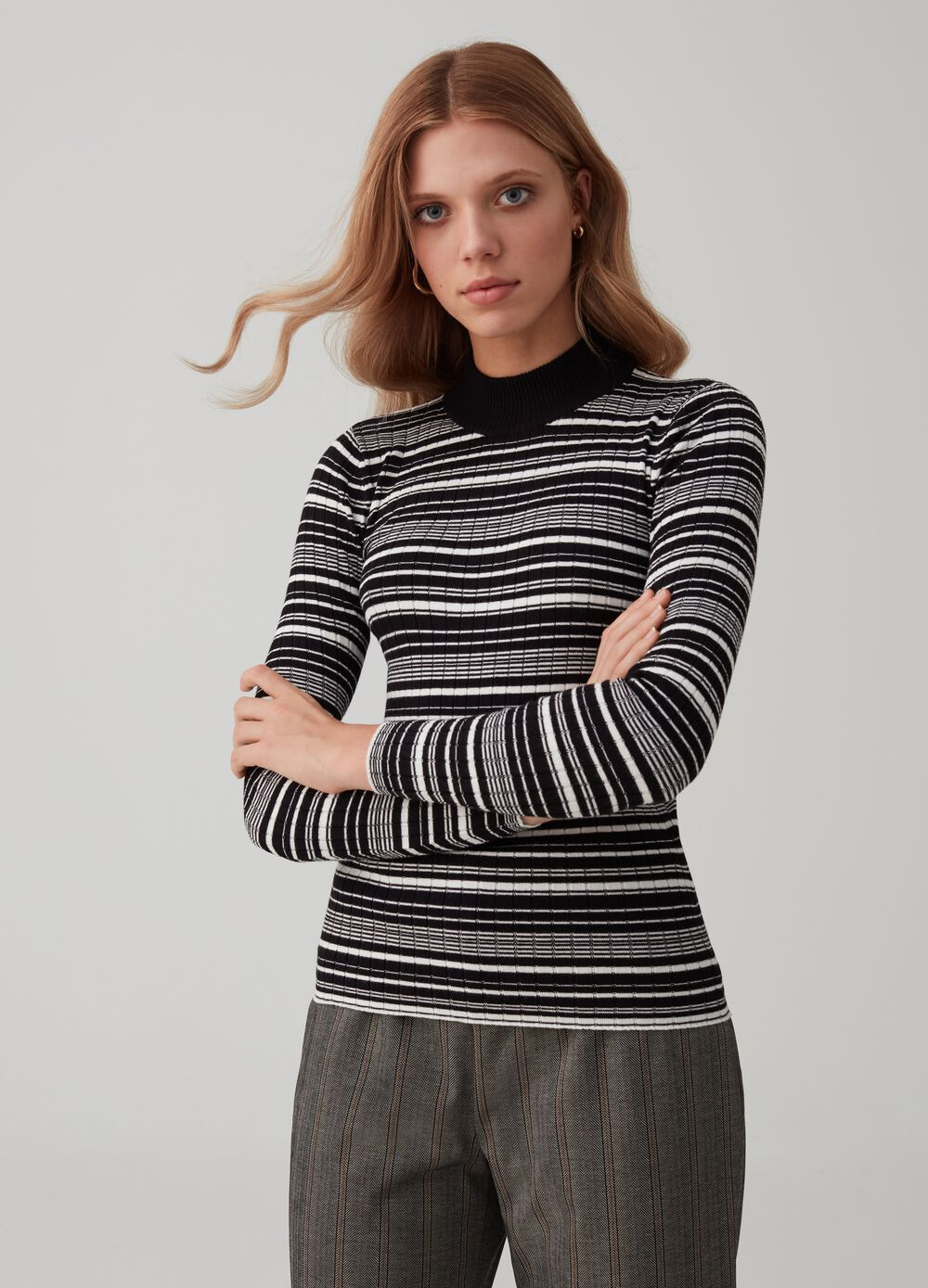 Viscose blend pullover with high neck