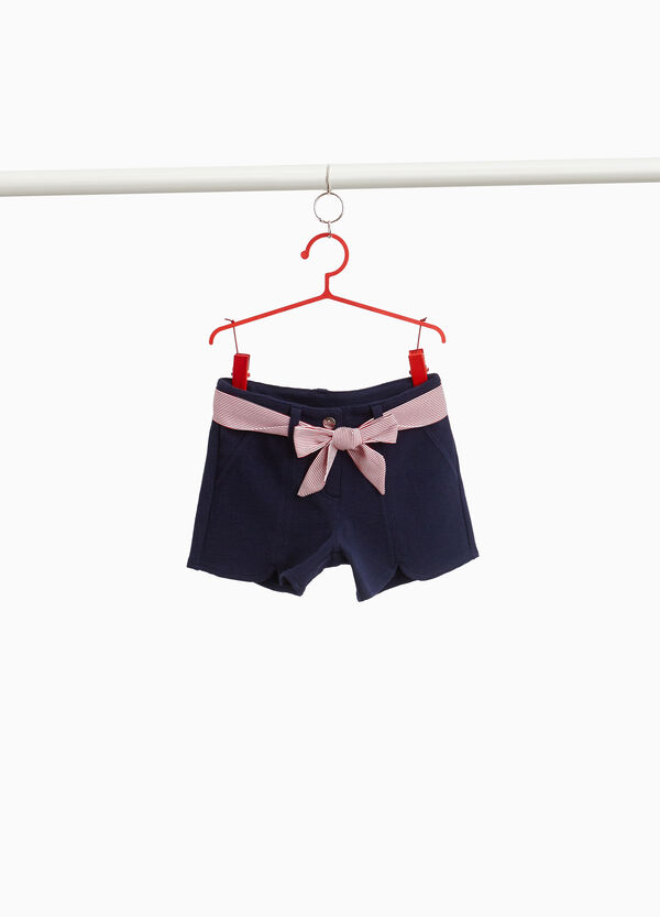Stretch cotton blend shorts with belt