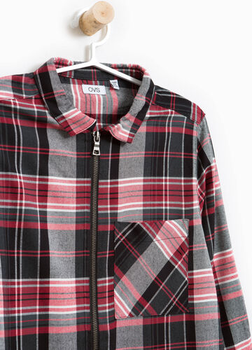 Viscose shirt with check zip