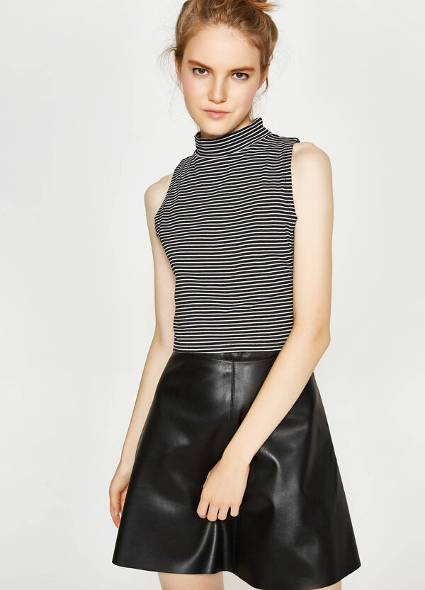 Striped crop top with high neck