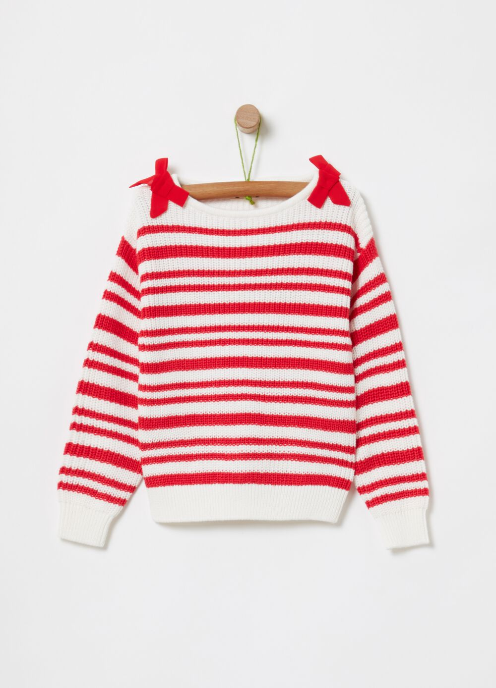 Striped knitted top in 100% cotton