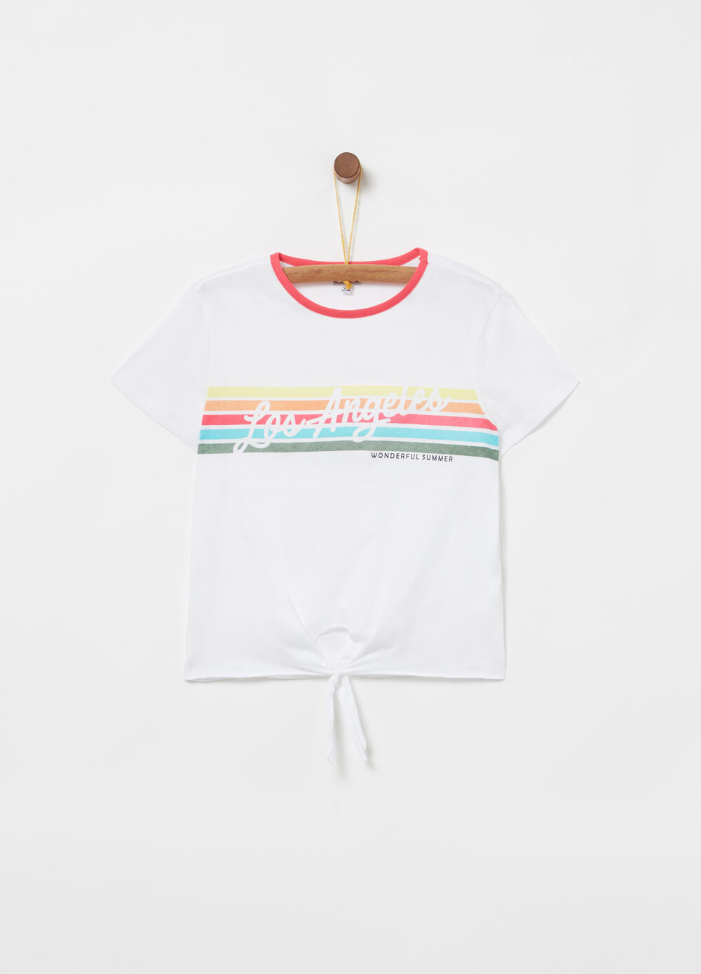 Lightweight jersey T-shirt with knot and print