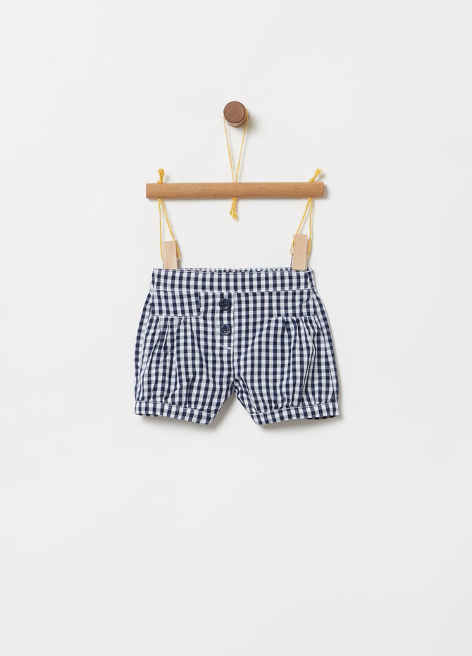 Shorts in BCI cotton with check pattern