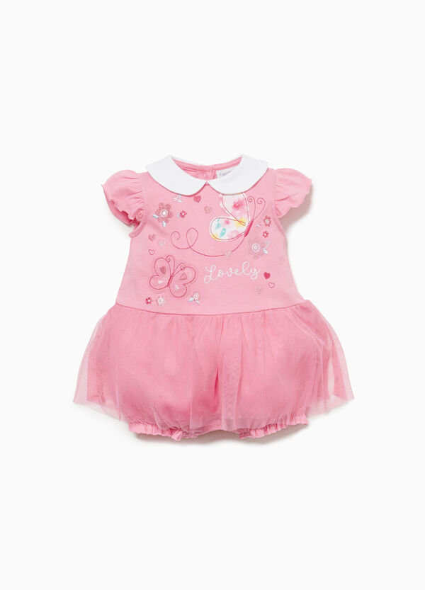 Cotton romper suit with patch and tulle skirt