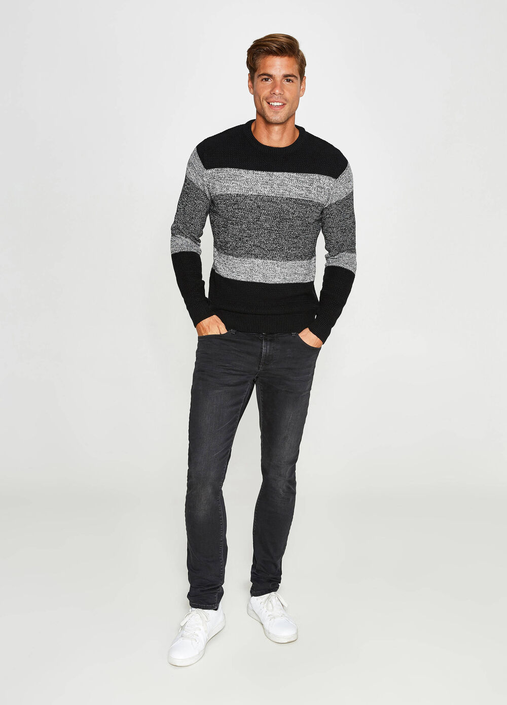 100% cotton striped pullover