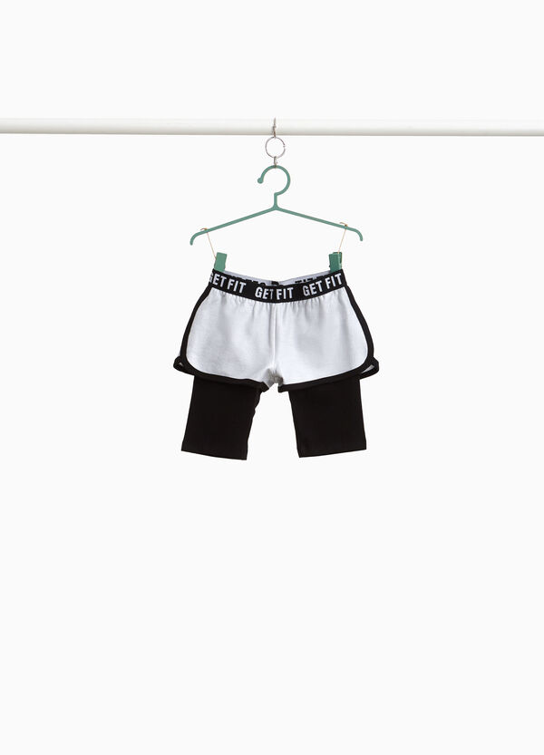 Stretch cotton shorts with faux layering