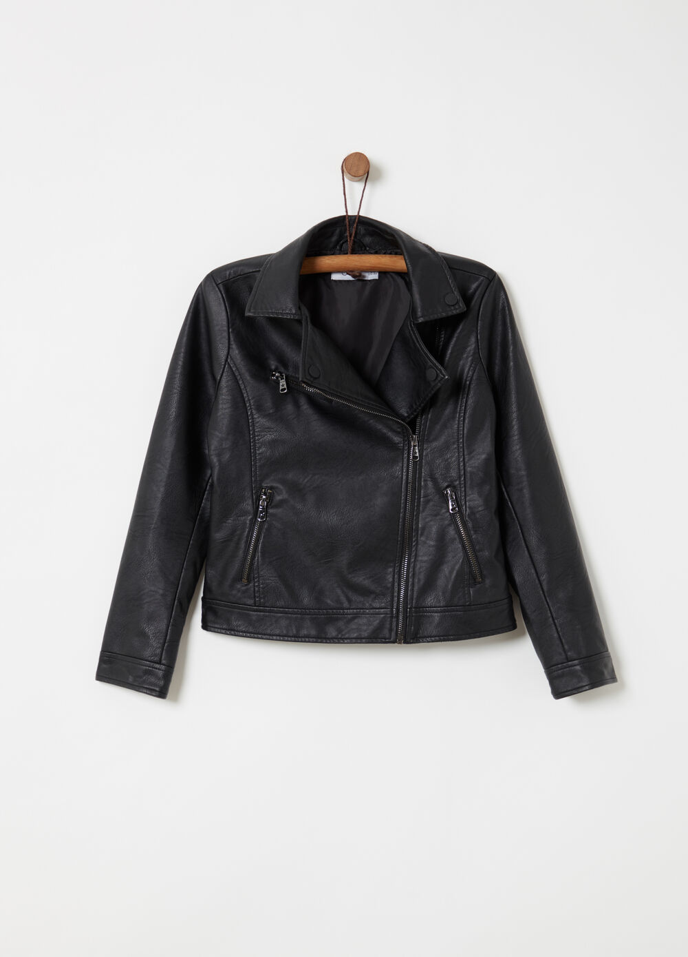 Leather-look biker jacket with lapels