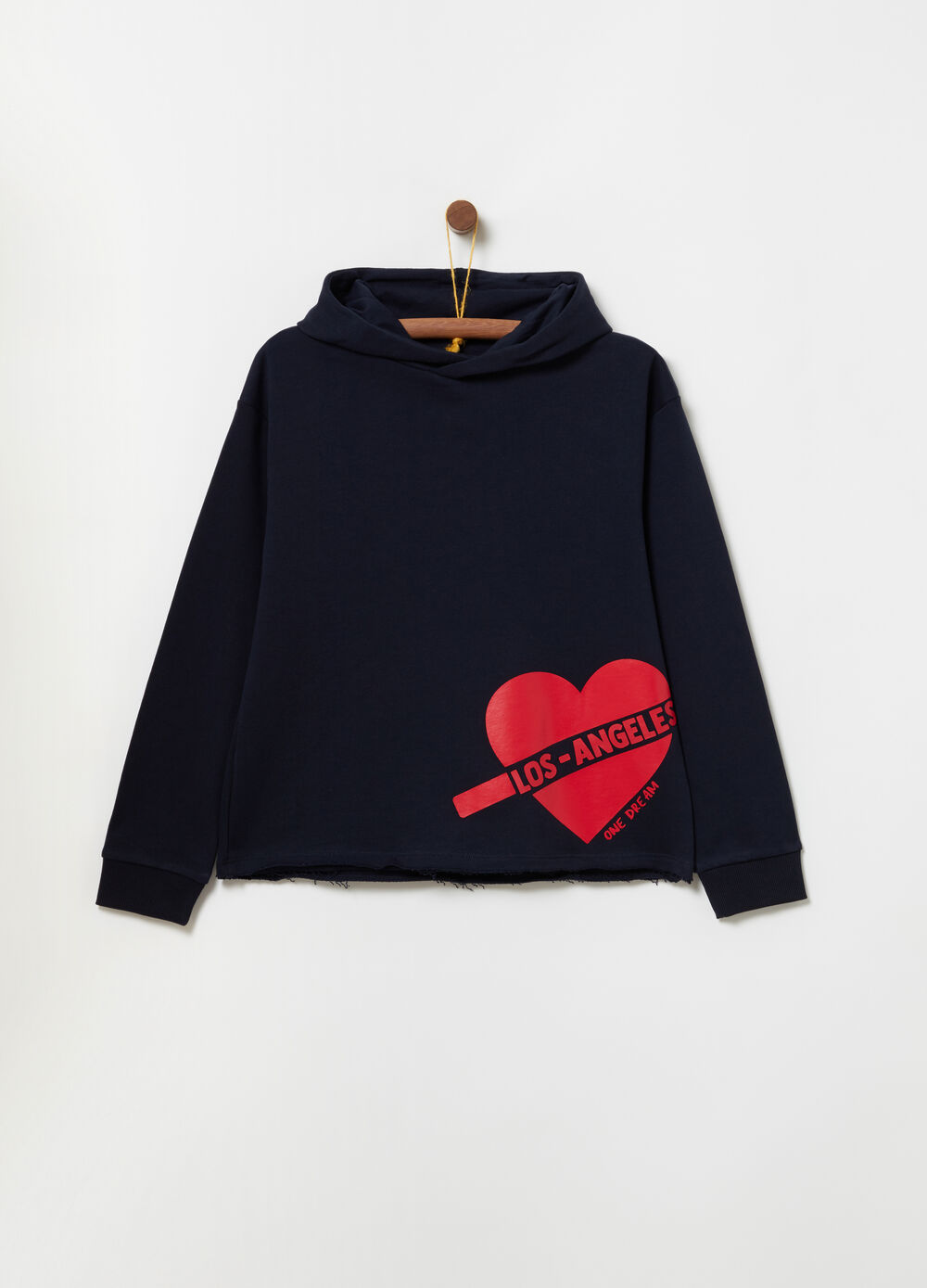 Sweatshirt with hood and print on the hem