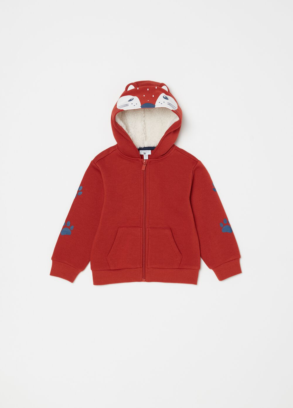 Sweatshirt with hood and fox print