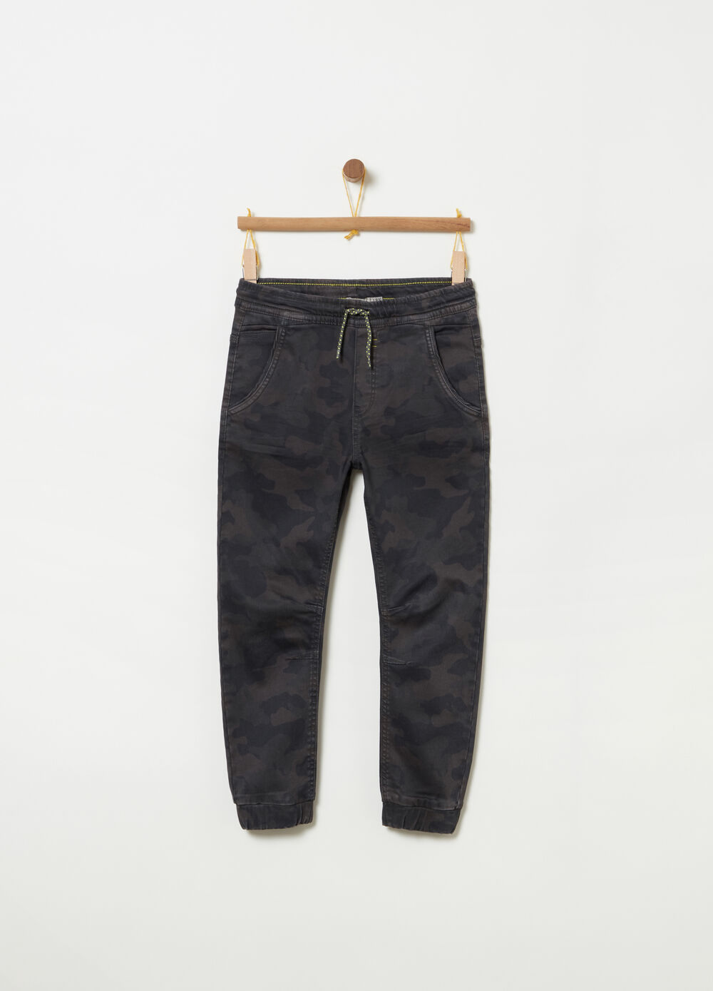 French Terry denim camouflage joggers