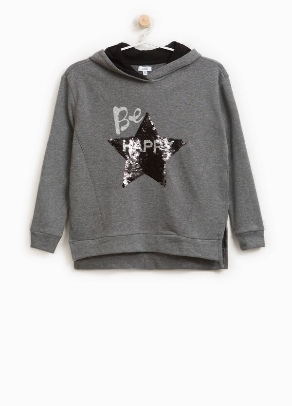 Cotton blend sweatshirt with print and sequins | OVS
