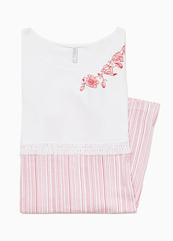 Striped nightshirt with print