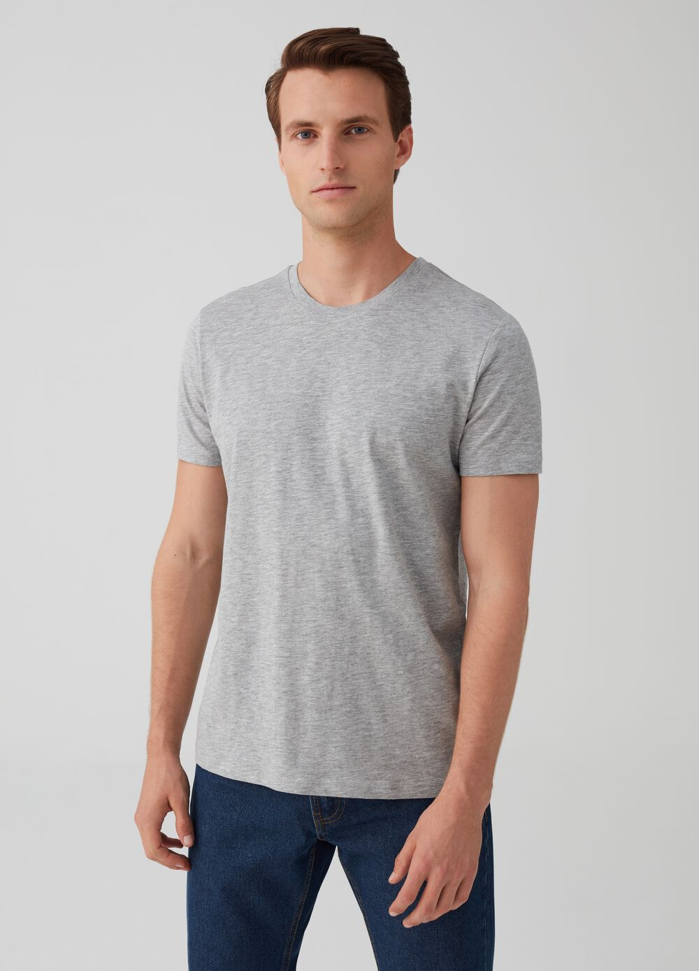 Two-pack mélange T-shirts with round neck