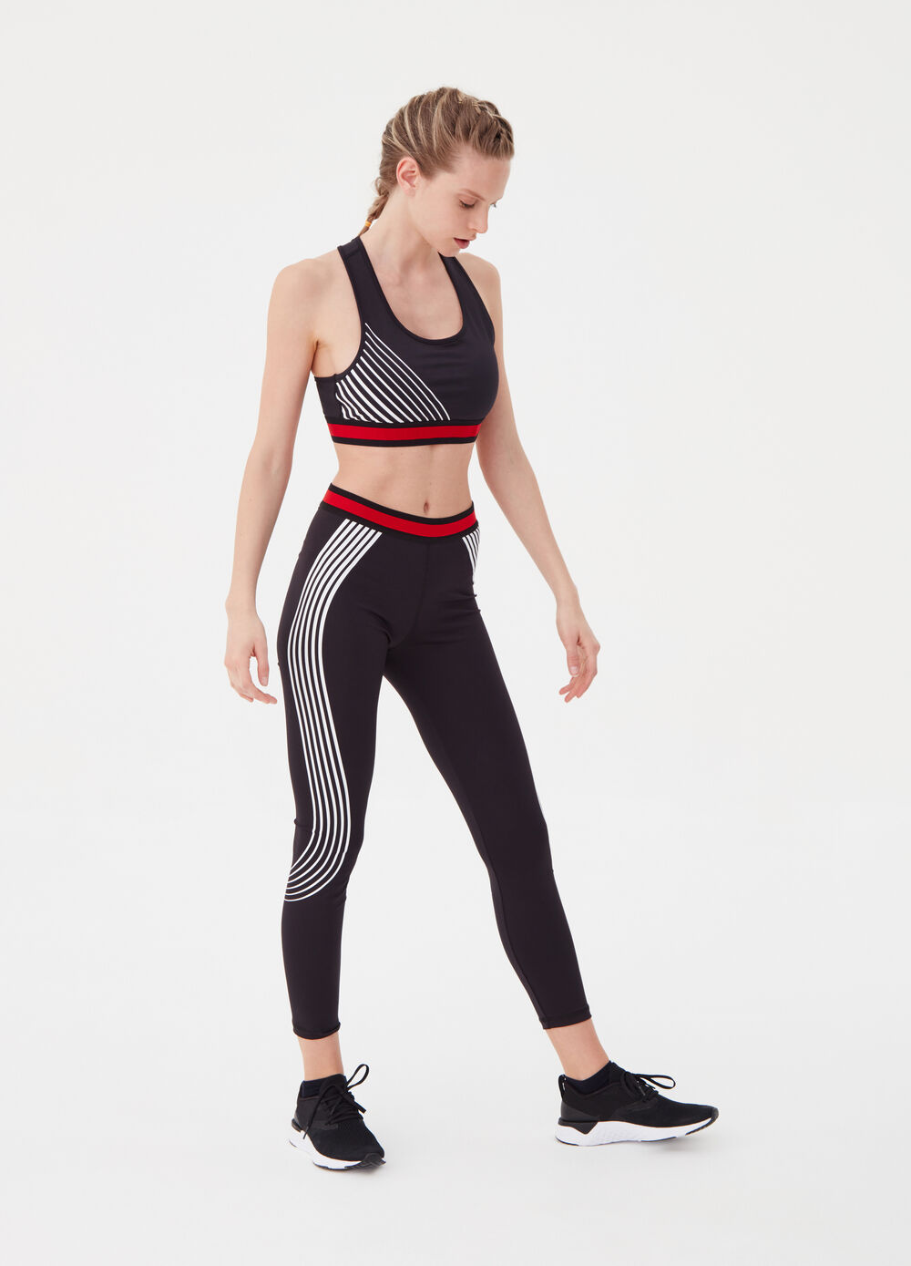 Stretch leggings with striped print