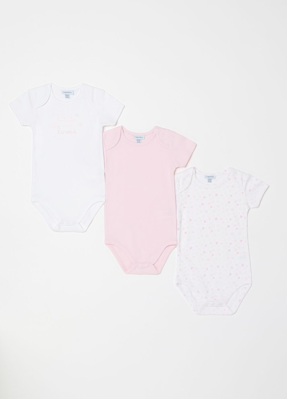 Three-pack short-sleeved biocotton bodysuits