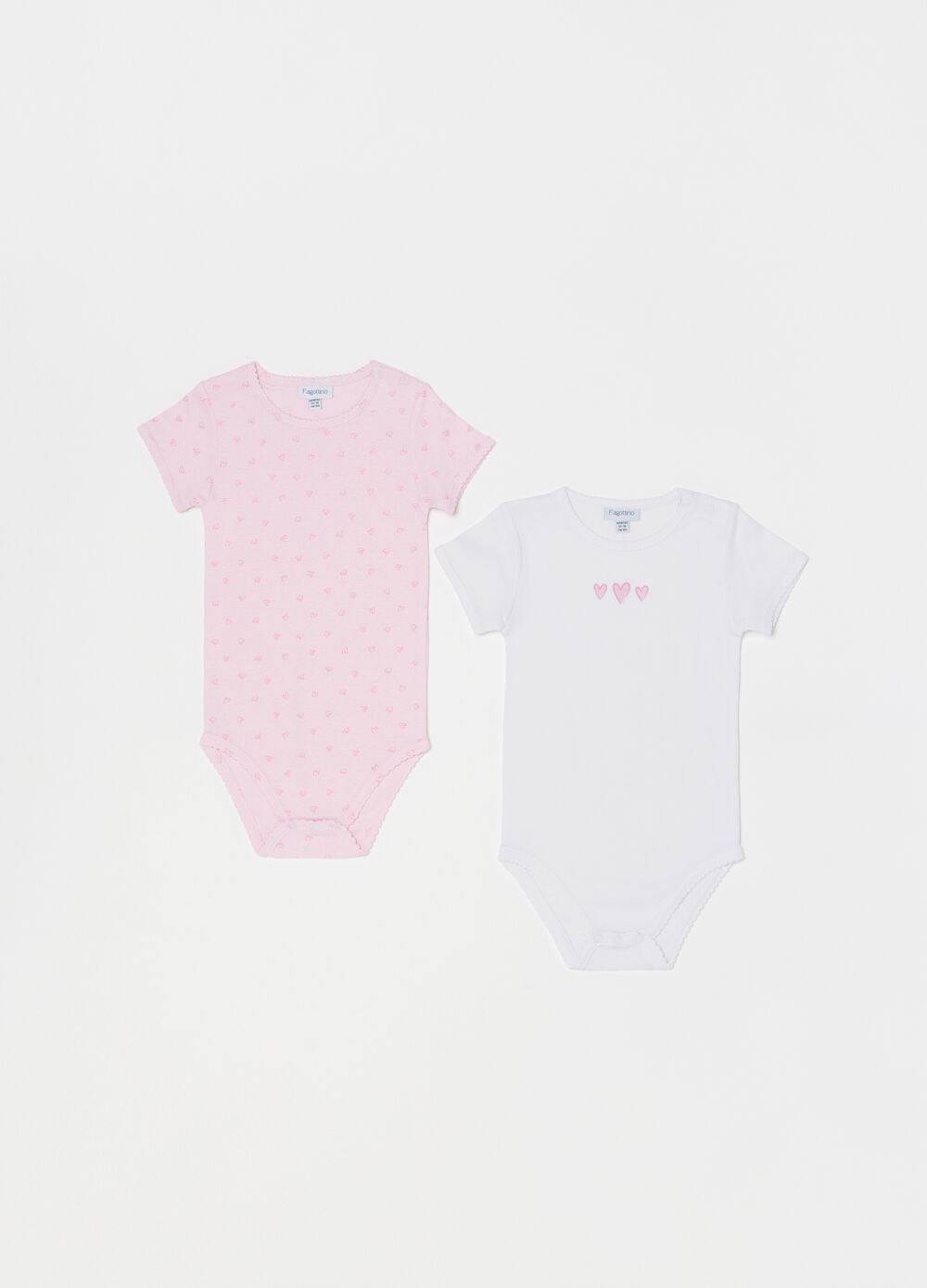 Two-pack 100% organic cotton bodysuits with hearts