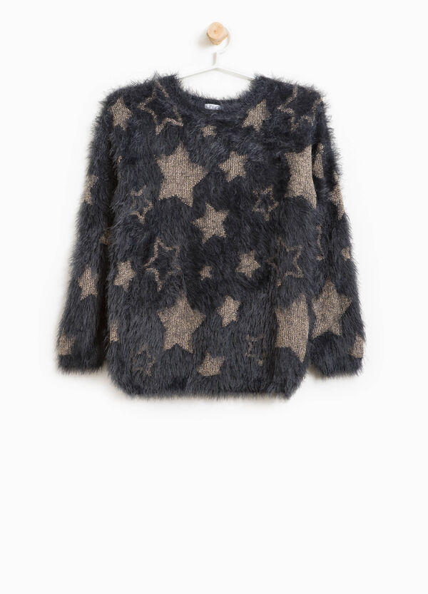 Faux fur pullover with glitter stars | OVS