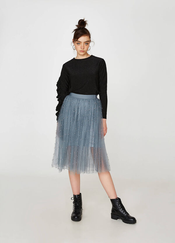 Skirt in tulle with beads | OVS