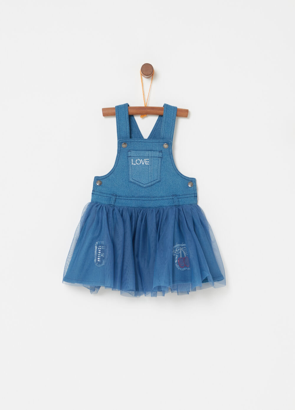 Denim dress with diamantés and embroidery