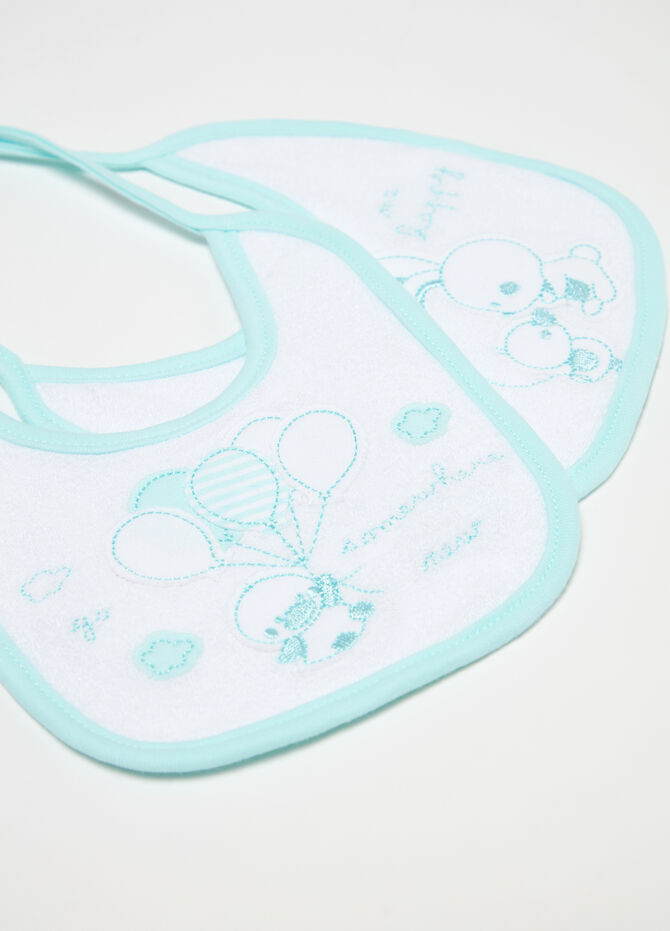 Two-pack bibs with embroidery and applications