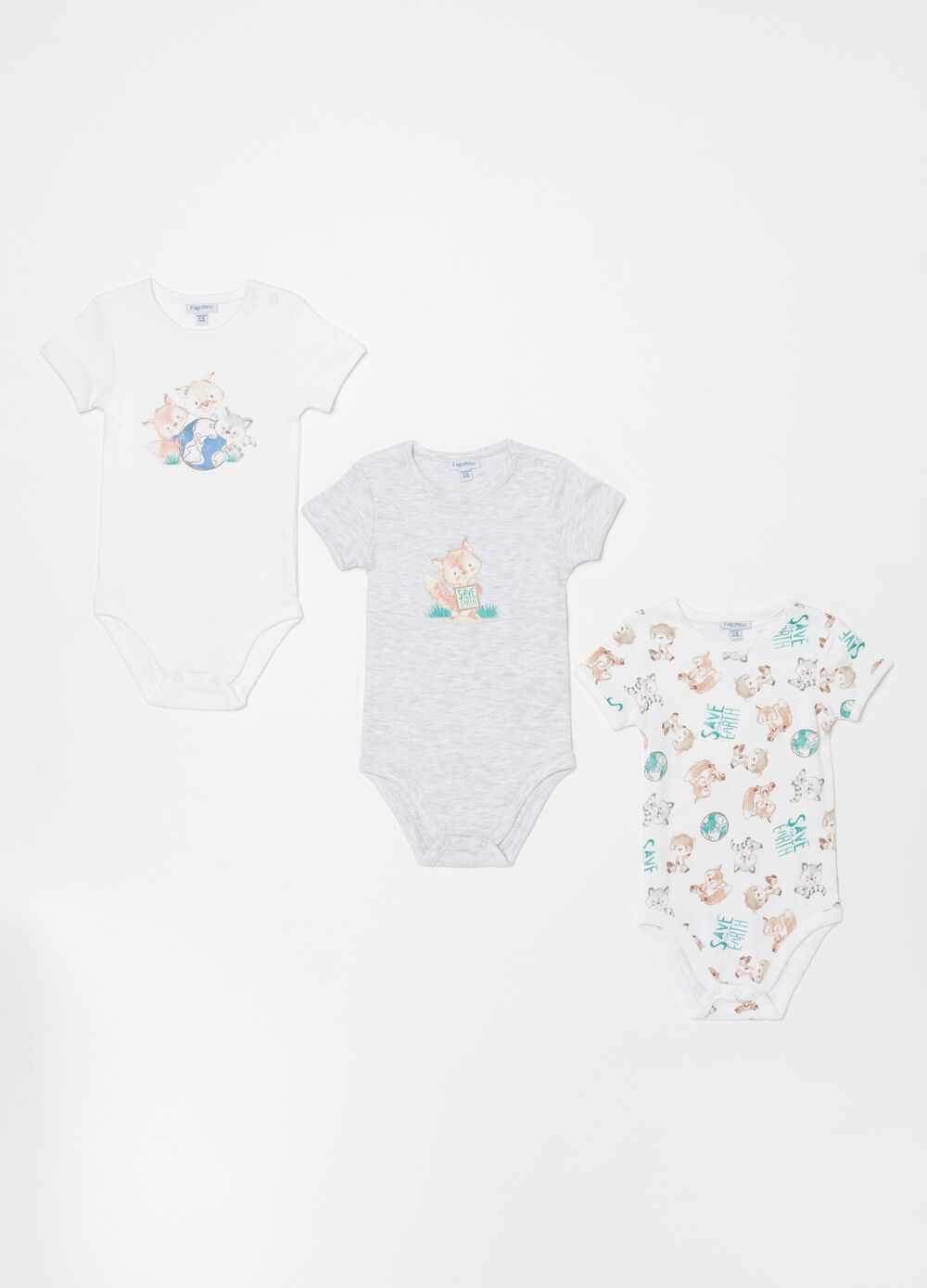 Three-pack bodysuits in organic cotton with pattern