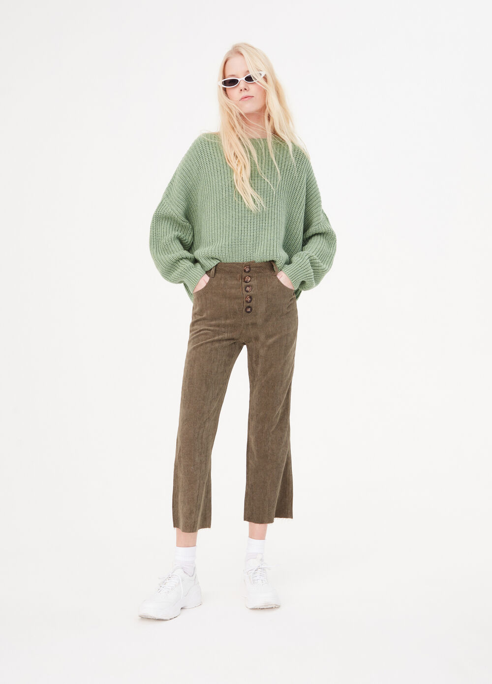 Kick flare trousers in ribbed velvet