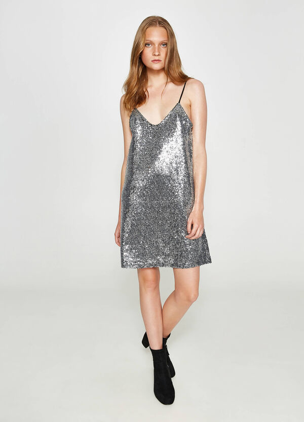 100% cotton dress with sequins | OVS