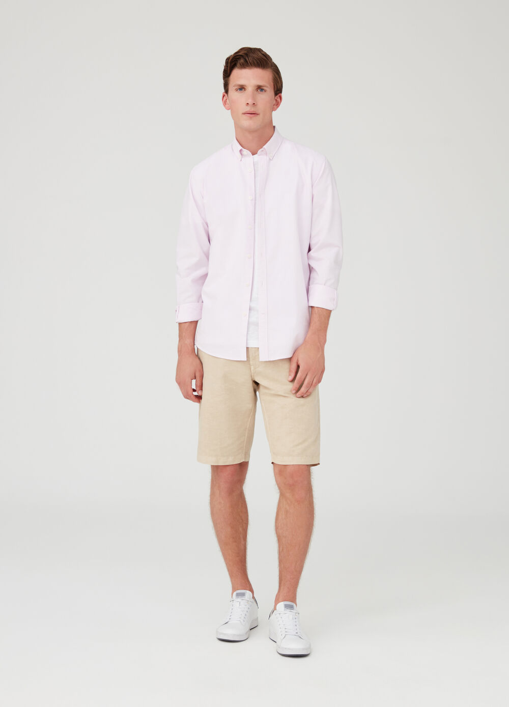 Cotton and linen shorts with pockets
