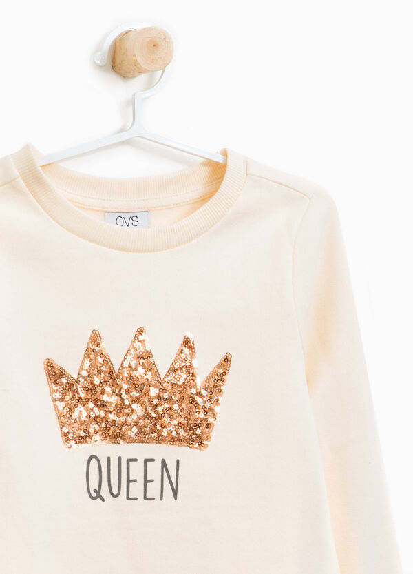 100% cotton T-shirt with crown sequins | OVS