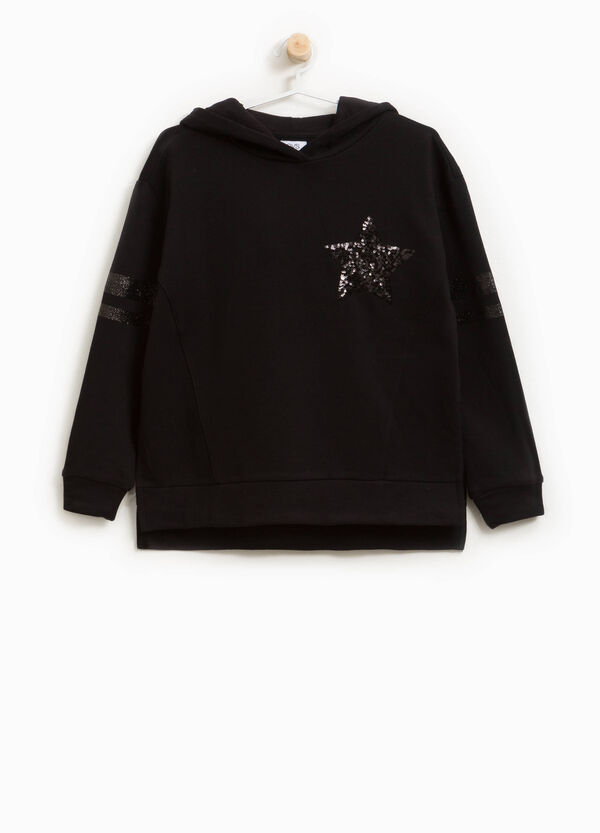 Sweatshirt in cotton blend with bands and sequins | OVS