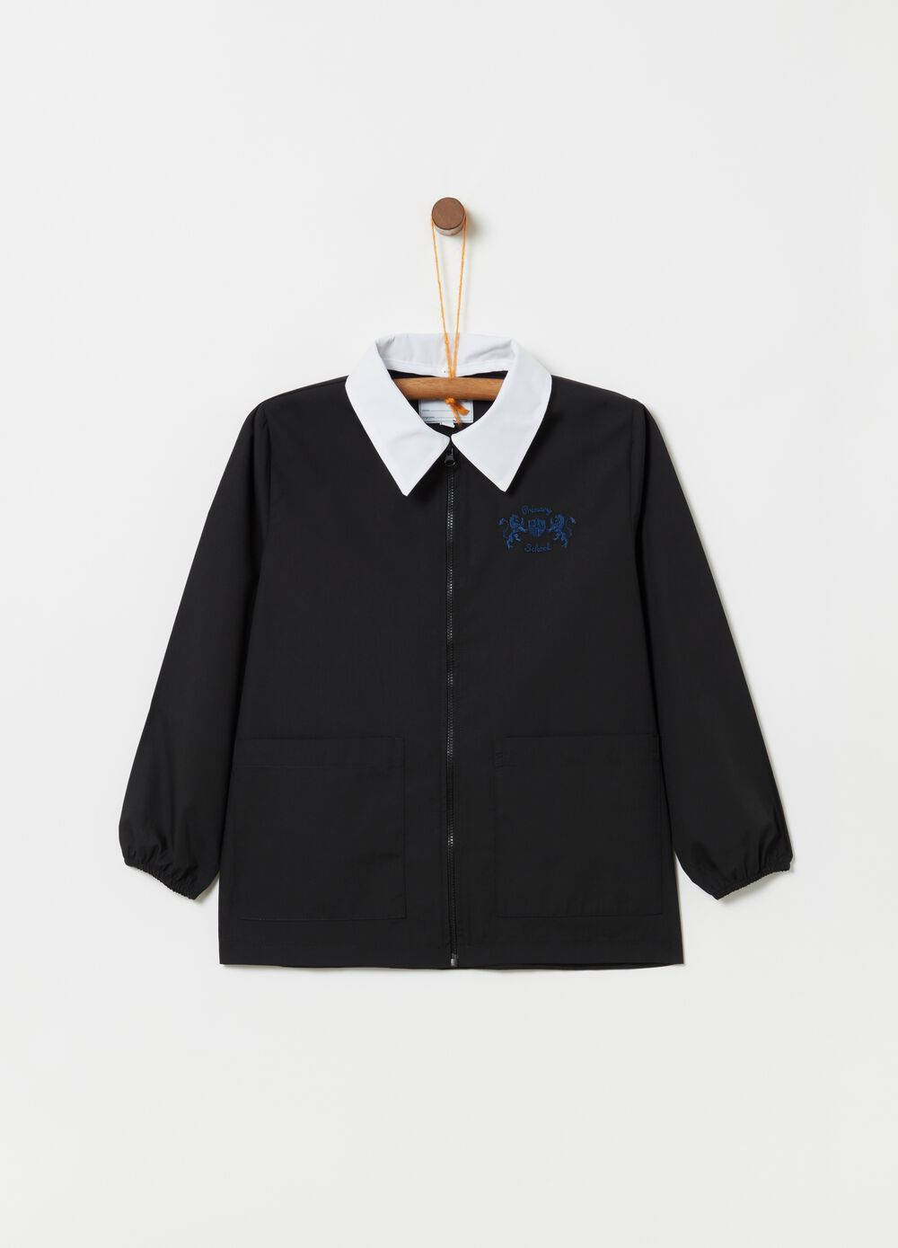 School smock with zip and embroidery