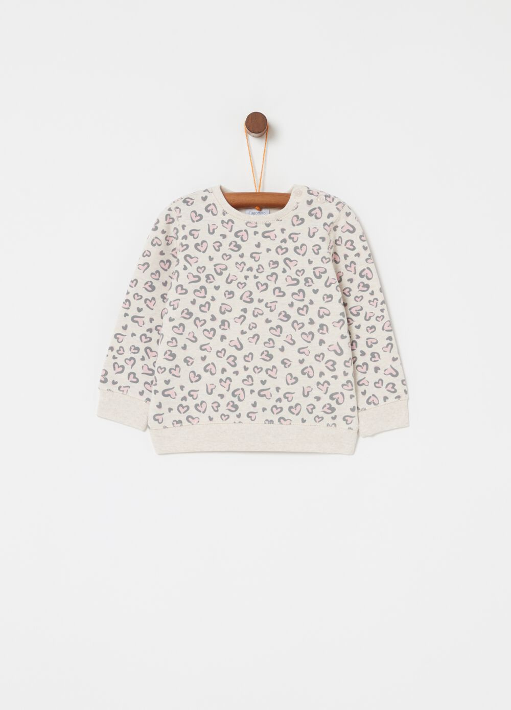 Sweatshirt in stretch cotton with hearts pattern
