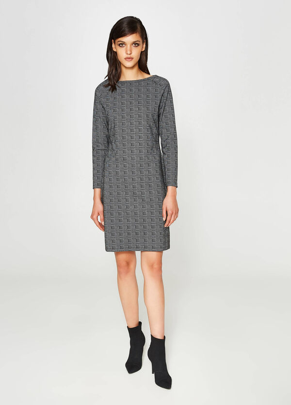 Stretch dress with hounds' tooth pattern | OVS
