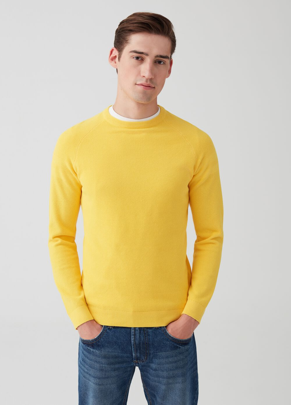 100% cotton pullover with textured design.