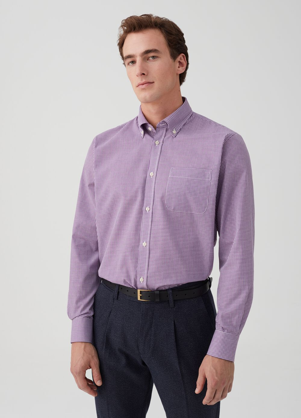 Regular-fit shirt with pocket and check pattern