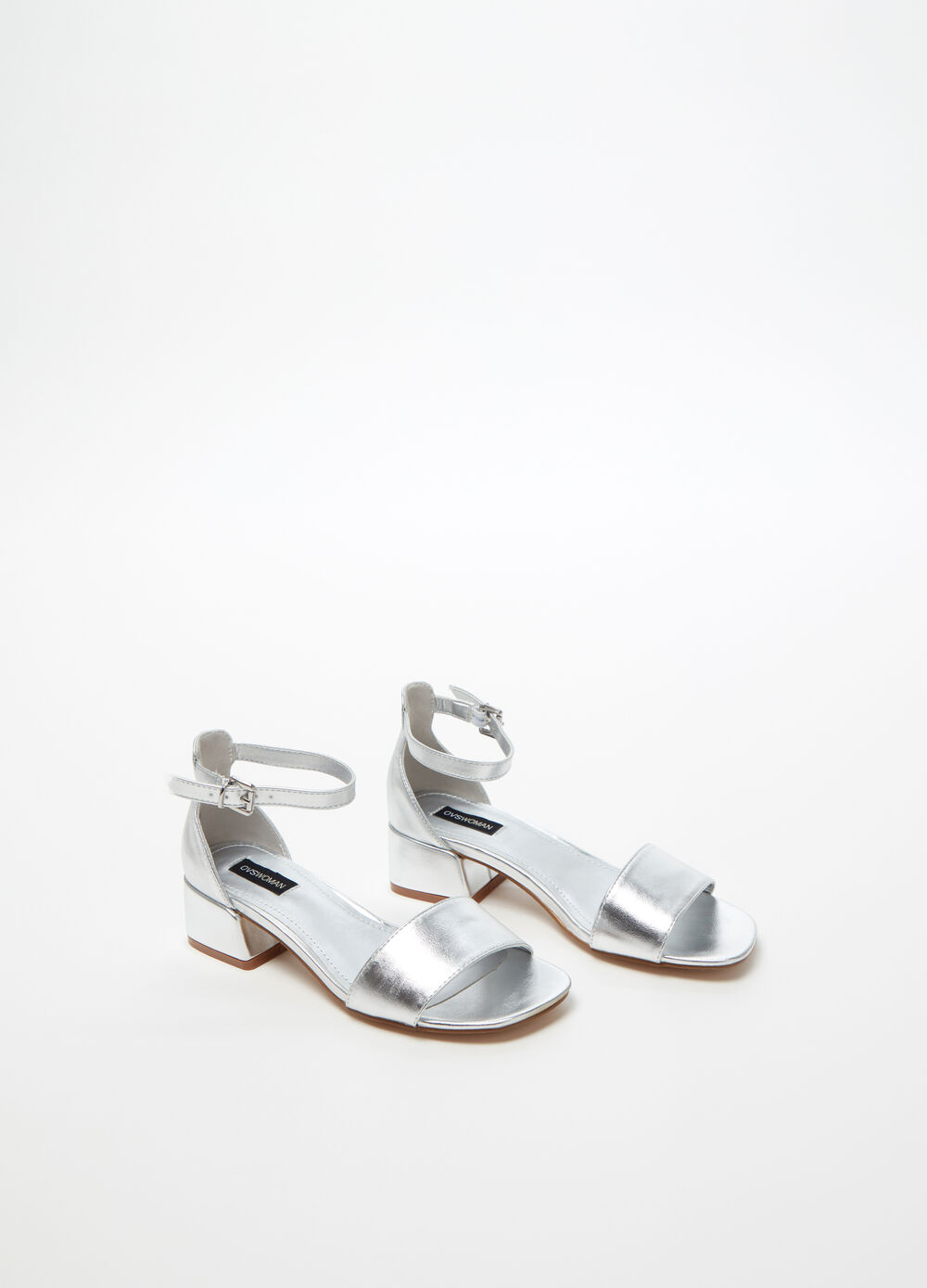 Sandal with metallic silver band and strap
