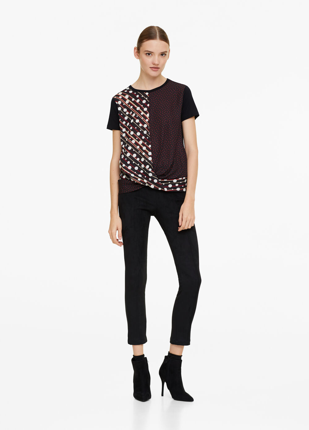 Stretch viscose T-shirt with crossover