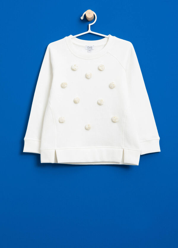 Cotton blend sweatshirt with pompom | OVS